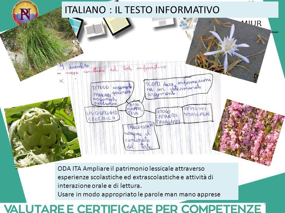 ITALIANO : IL TESTO INFORMATIVO