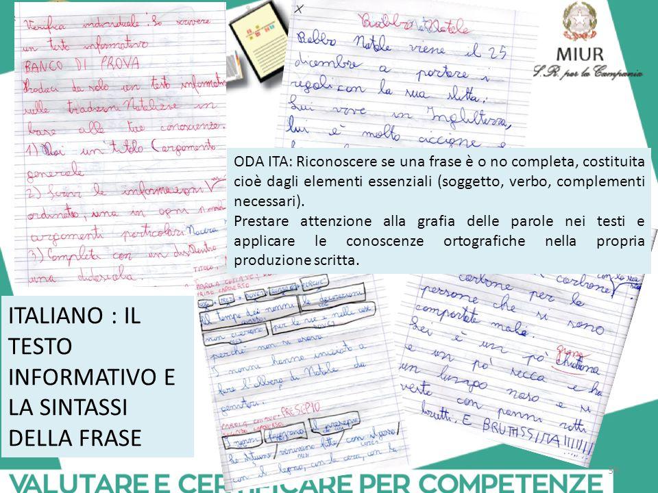 ITALIANO : IL TESTO INFORMATIVO E LA SINTASSI DELLA FRASE