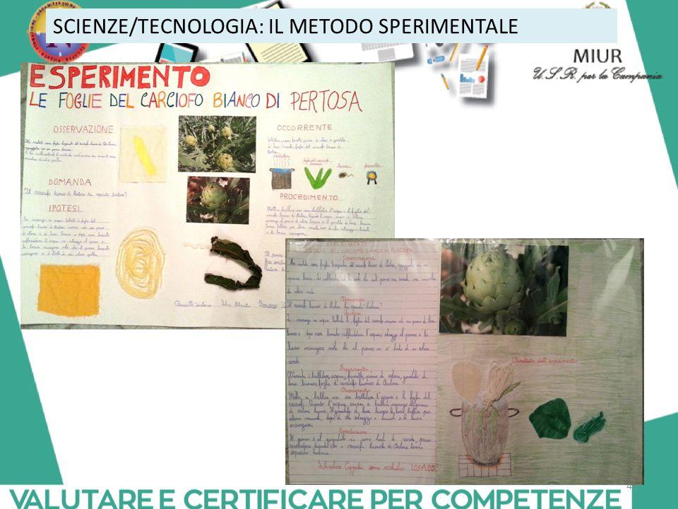 SCIENZE/TECNOLOGIA: IL METODO SPERIMENTALE