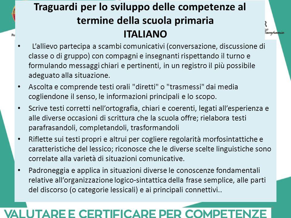 Traguardi per lo sviluppo delle competenze al termine della scuola primaria ITALIANO