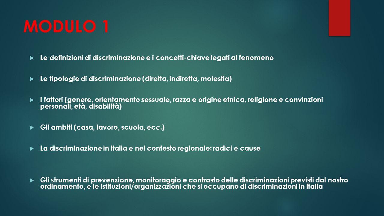 MODULO 1 Le definizioni di discriminazione e i concetti-chiave legati al fenomeno. Le tipologie di discriminazione (diretta, indiretta, molestia)