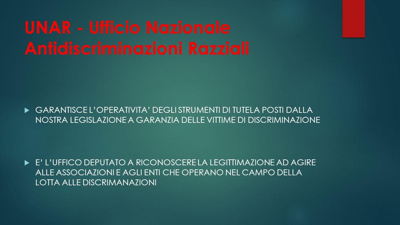 UNAR - Ufficio Nazionale Antidiscriminazioni Razziali