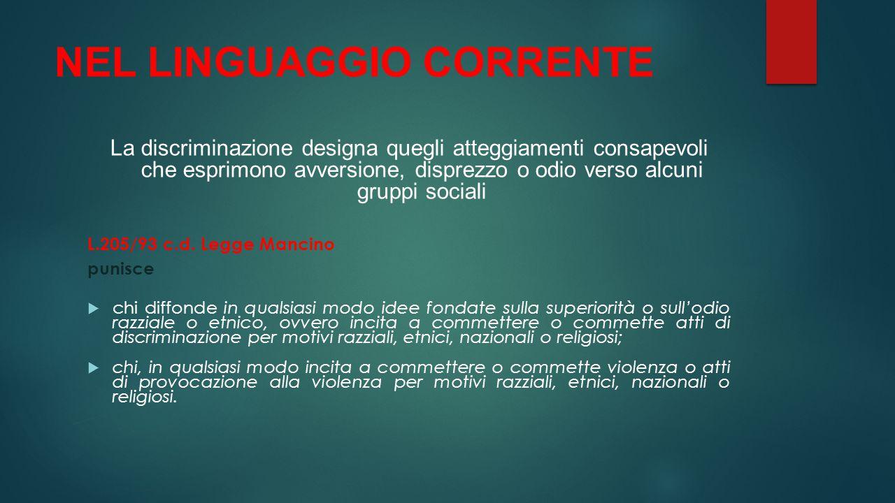 NEL LINGUAGGIO CORRENTE
