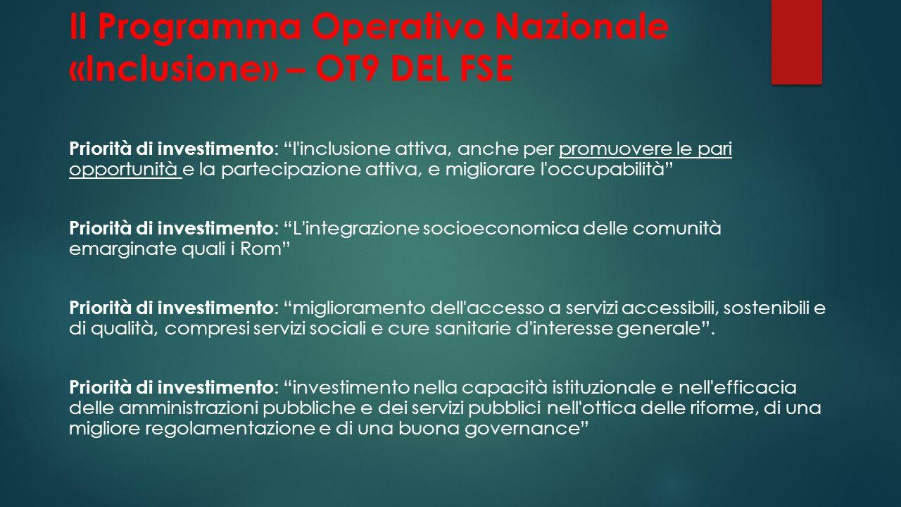 Il Programma Operativo Nazionale «Inclusione» – OT9 DEL FSE