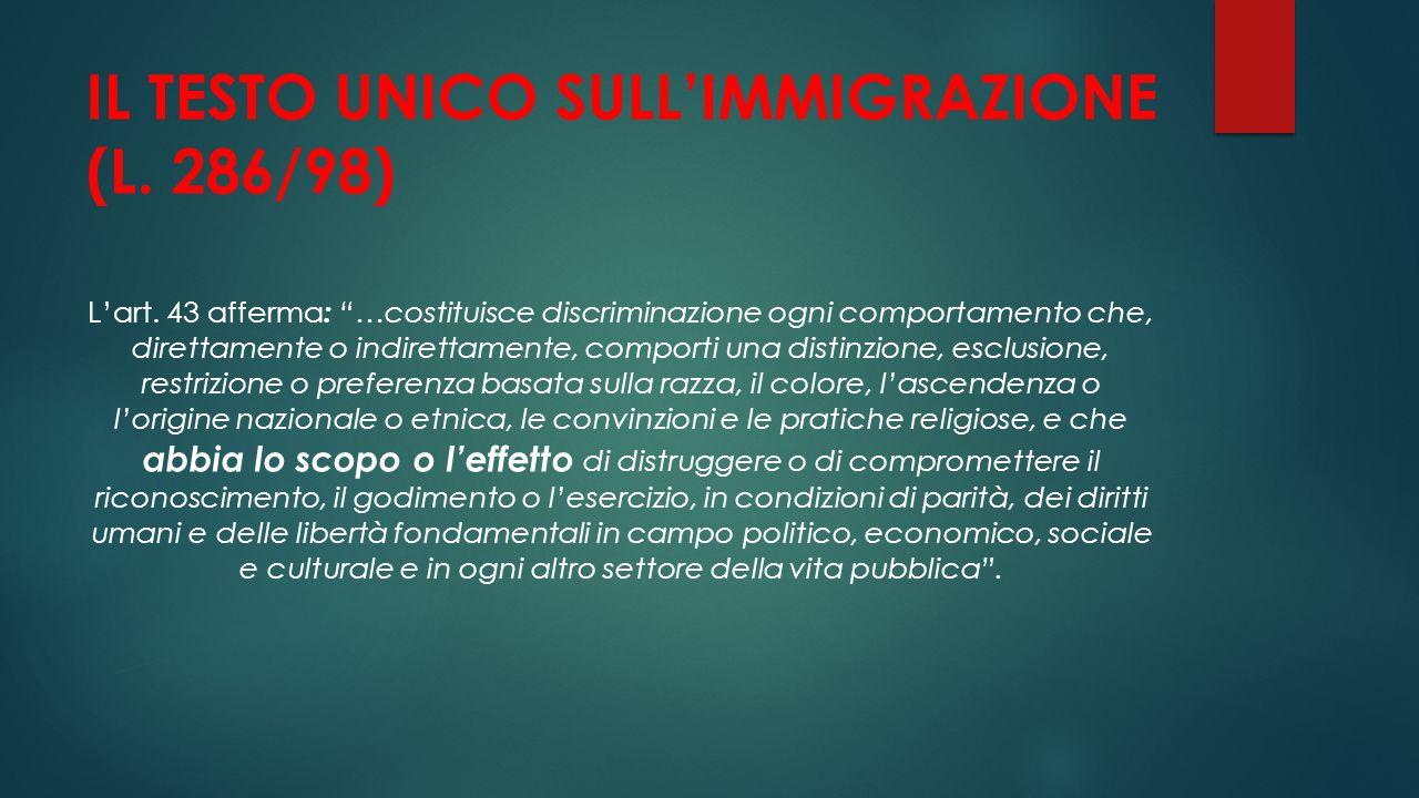 IL TESTO UNICO SULL'IMMIGRAZIONE (L. 286/98)