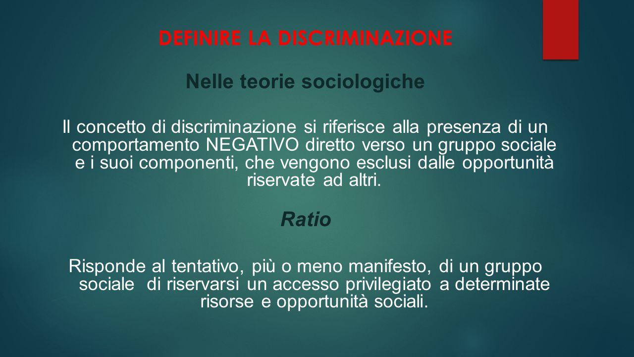 DEFINIRE LA DISCRIMINAZIONE Nelle teorie sociologiche