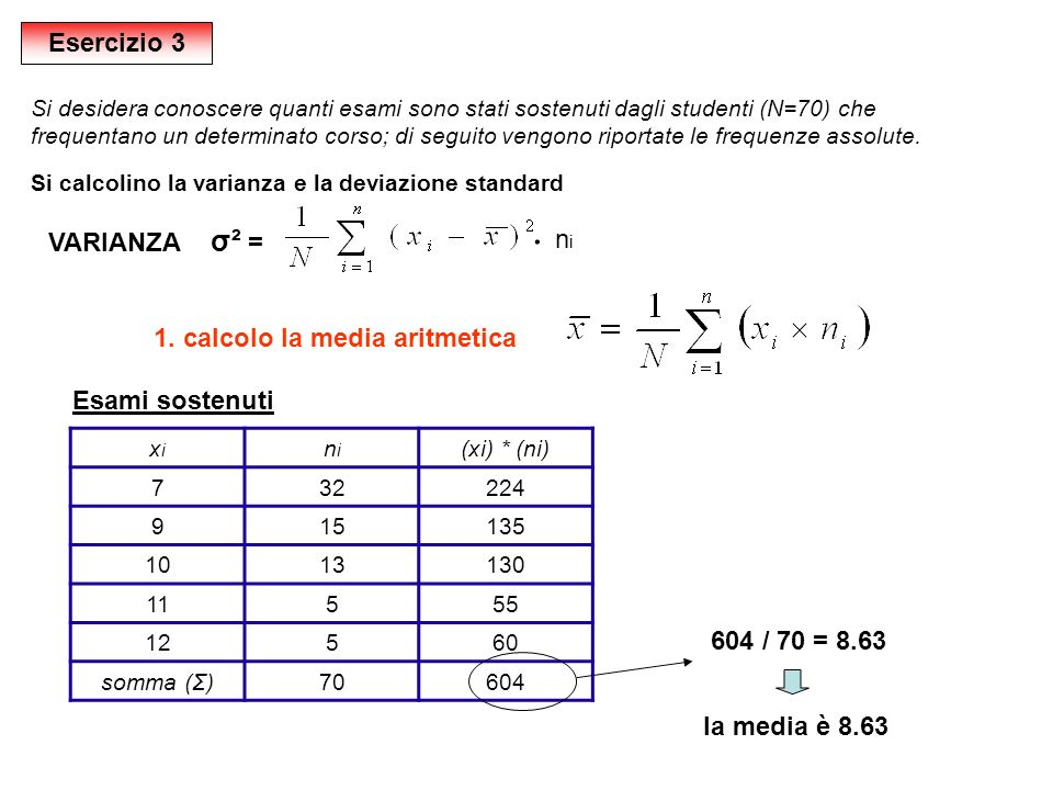 ּ Esercizio 3 VARIANZA σ² = ni 1. calcolo la media aritmetica