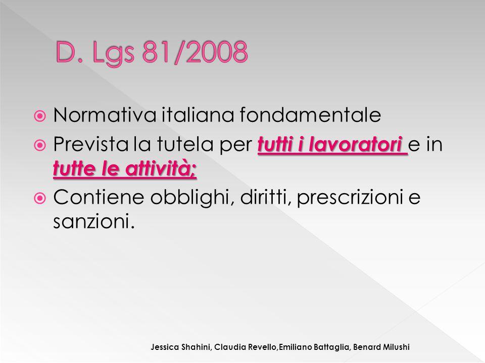 D. Lgs 81/2008 Normativa italiana fondamentale