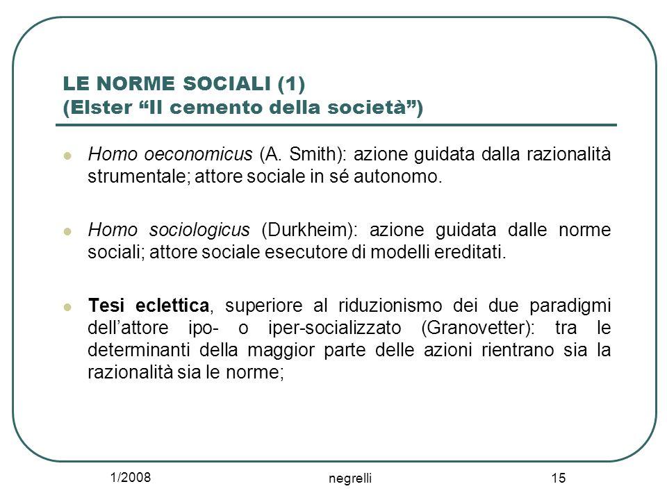 LE NORME SOCIALI (1) (Elster Il cemento della società )