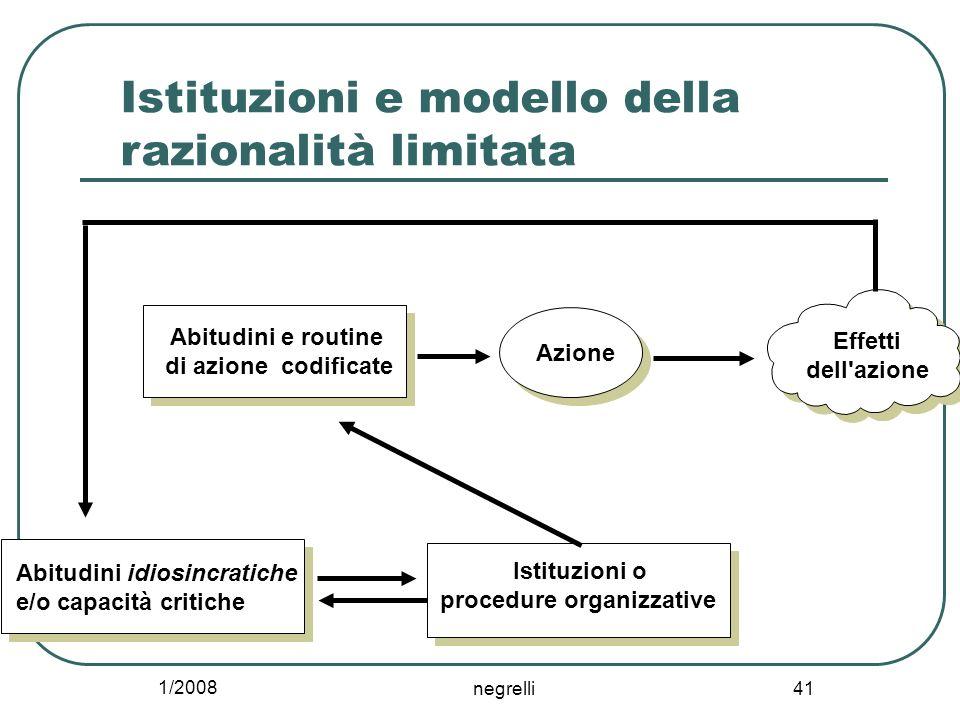 Istituzioni e modello della razionalità limitata