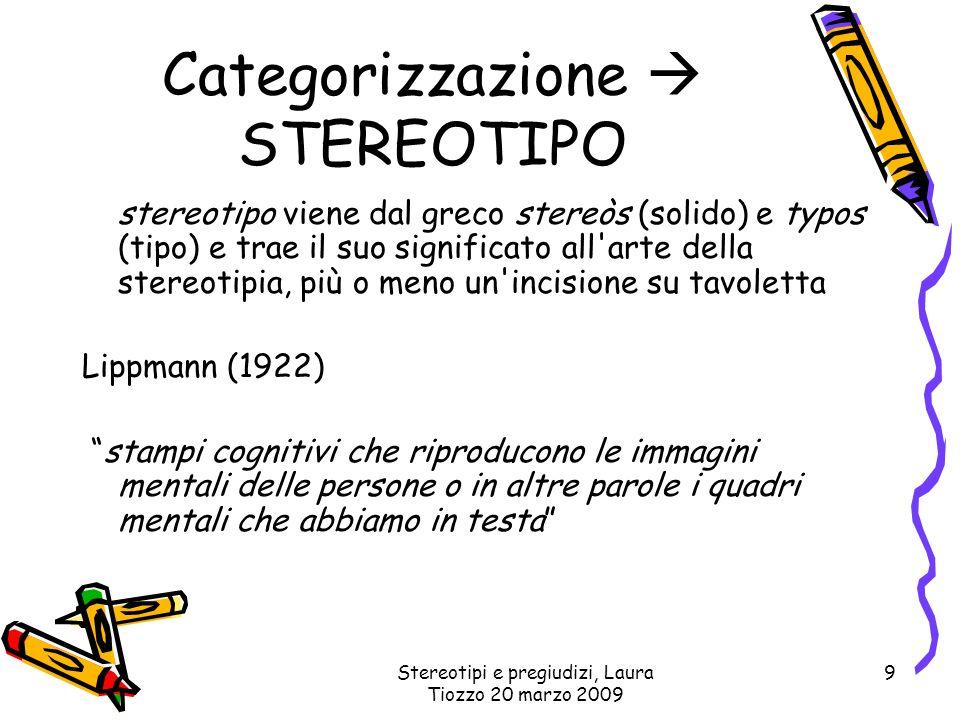 Categorizzazione  STEREOTIPO