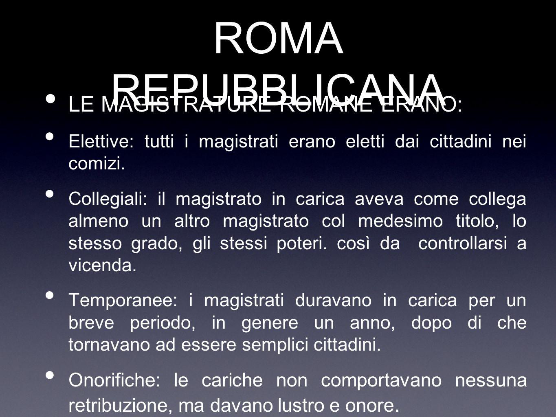 ROMA REPUBBLICANA LE MAGISTRATURE ROMANE ERANO:
