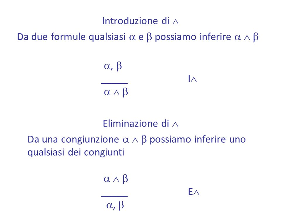 Introduzione di Da due formule qualsiasi a e b possiamo inferire a  b. a, b. _____ I a  b. Eliminazione di 