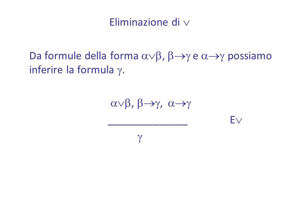 Eliminazione di Da formule della forma ab, bg e ag possiamo inferire la formula g. ab, bg, ag.