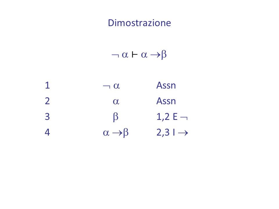 Dimostrazione  a ⊢ a b 1  a Assn 2 a Assn 3 b 1,2 E  4 a b 2,3 I 