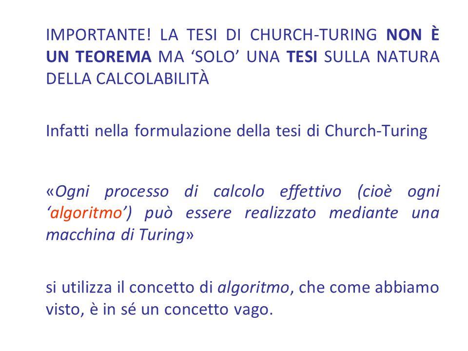 IMPORTANTE! LA TESI DI CHURCH-TURING NON È UN TEOREMA MA 'SOLO' UNA TESI SULLA NATURA DELLA CALCOLABILITÀ