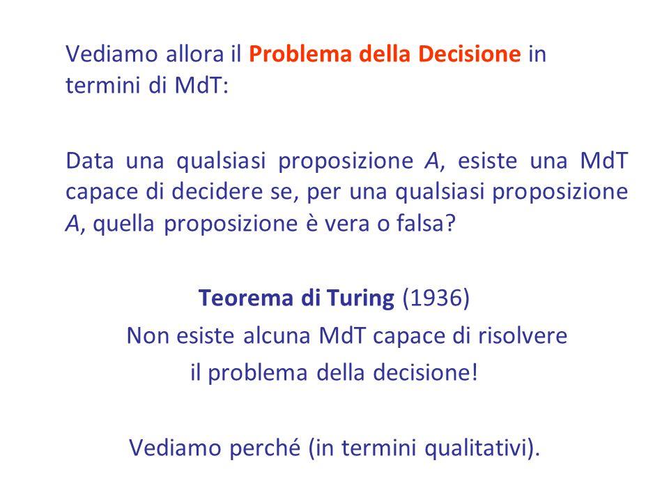 Vediamo allora il Problema della Decisione in termini di MdT: