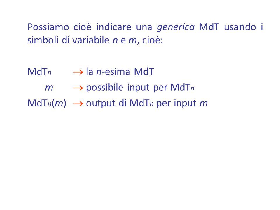 Possiamo cioè indicare una generica MdT usando i simboli di variabile n e m, cioè: