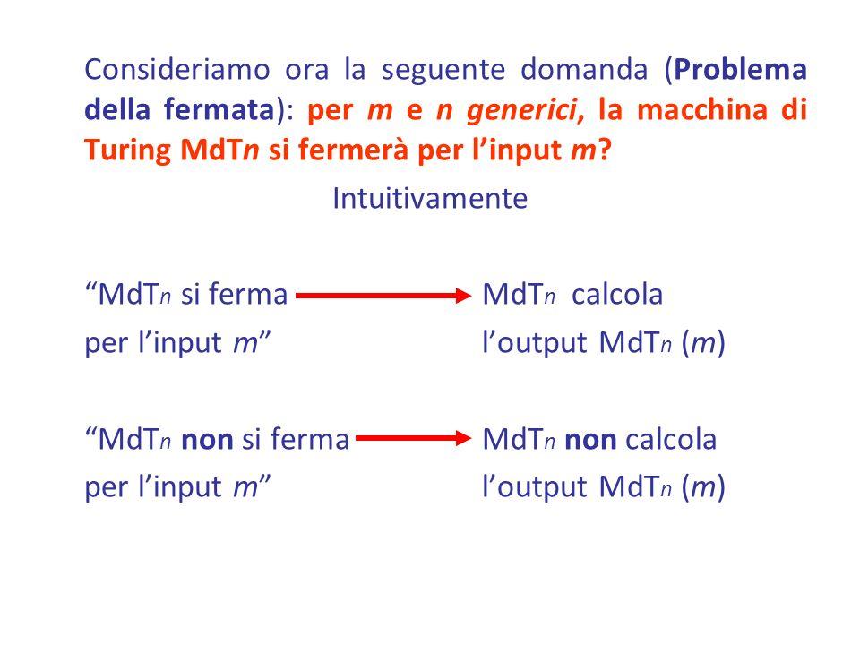 Consideriamo ora la seguente domanda (Problema della fermata): per m e n generici, la macchina di Turing MdTn si fermerà per l'input m