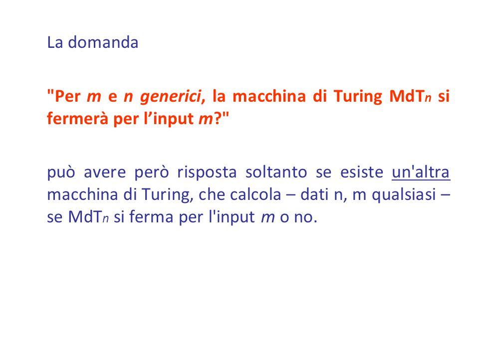 La domanda Per m e n generici, la macchina di Turing MdTn si fermerà per l'input m