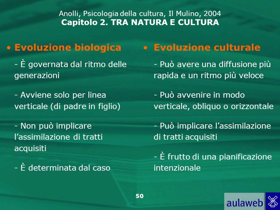 Evoluzione biologica Evoluzione culturale
