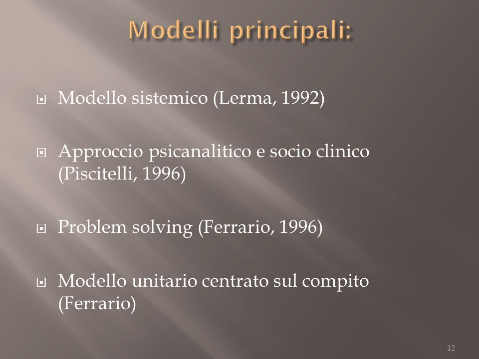 Modelli principali: Modello sistemico (Lerma, 1992)