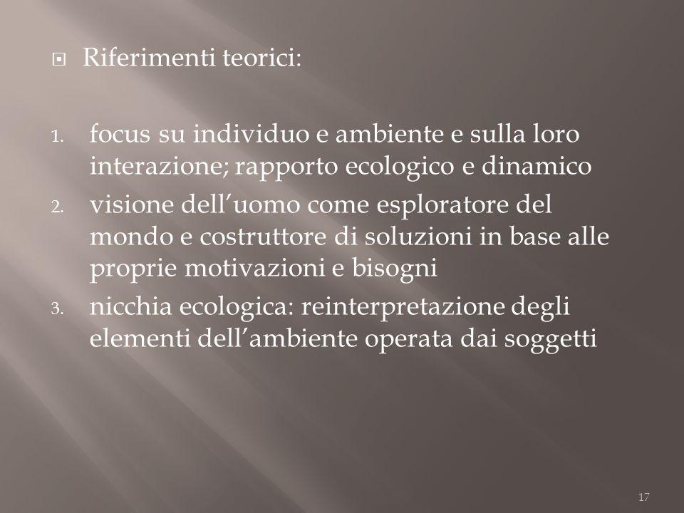 Riferimenti teorici: focus su individuo e ambiente e sulla loro interazione; rapporto ecologico e dinamico.
