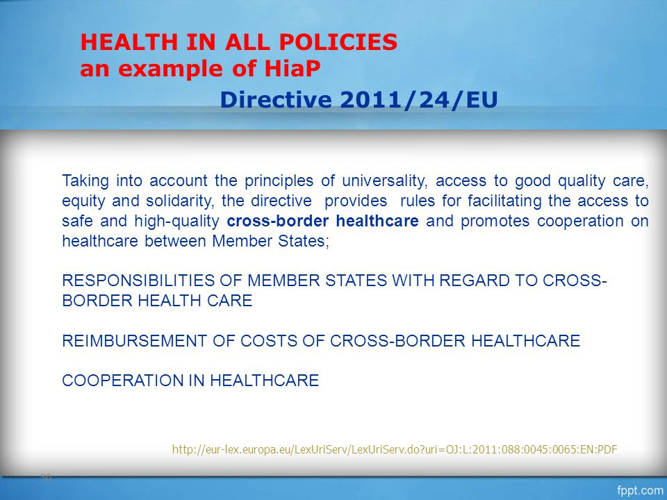 HEALTH IN ALL POLICIES an example of HiaP