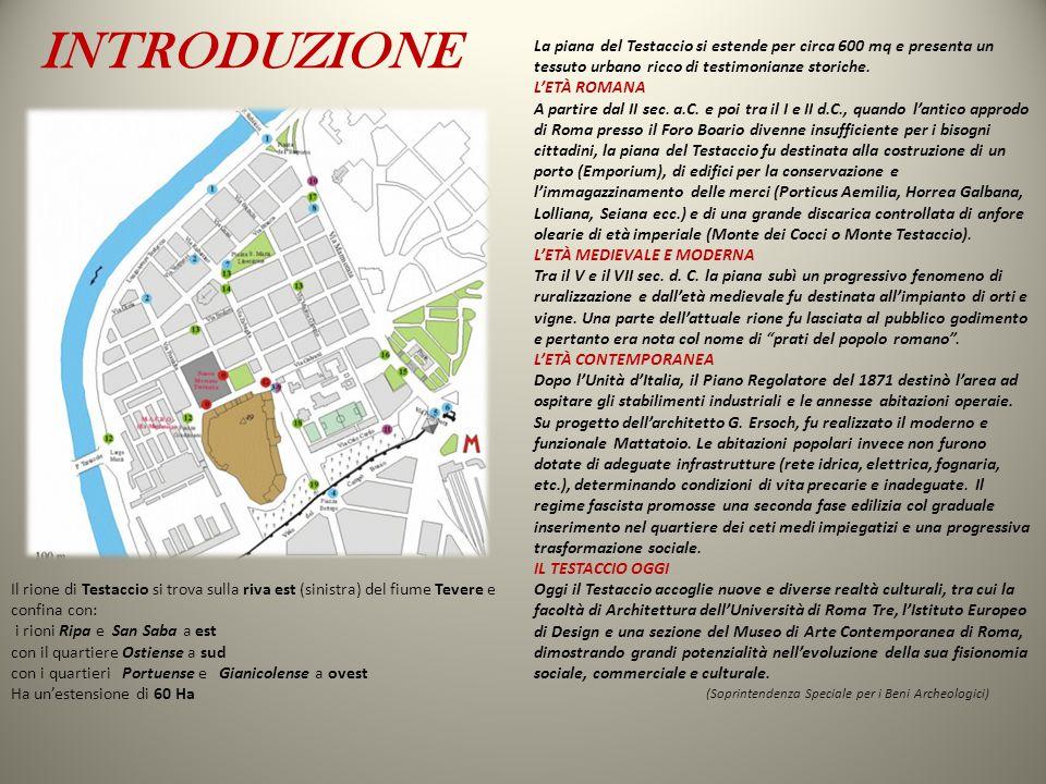 INTRODUZIONE La piana del Testaccio si estende per circa 600 mq e presenta un tessuto urbano ricco di testimonianze storiche.