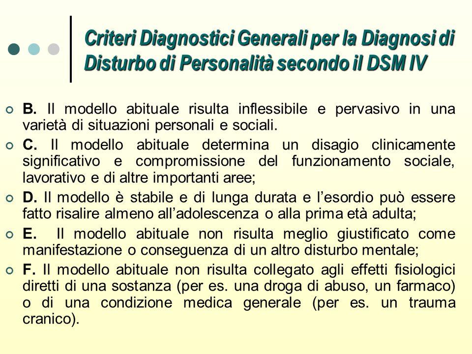 Criteri Diagnostici Generali per la Diagnosi di Disturbo di Personalità secondo il DSM IV
