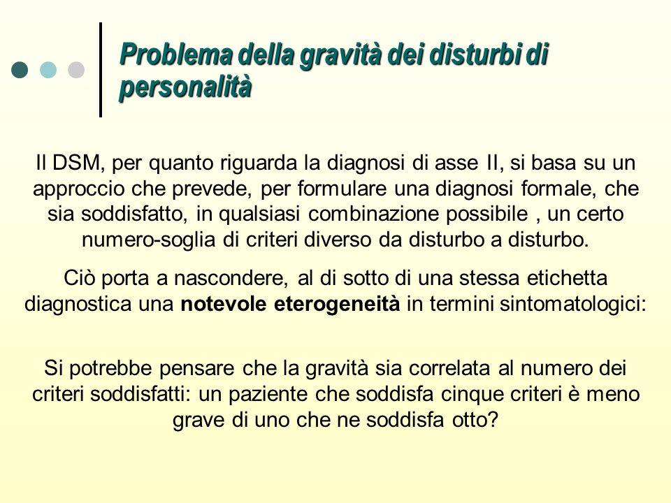 Problema della gravità dei disturbi di personalità