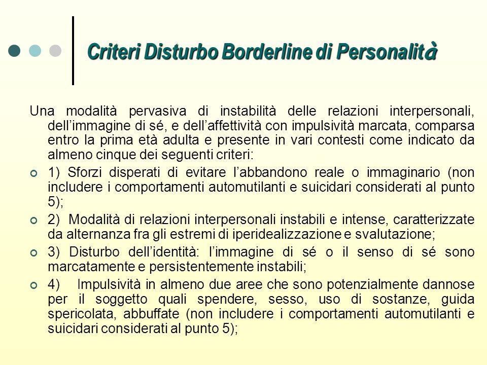 Criteri Disturbo Borderline di Personalità