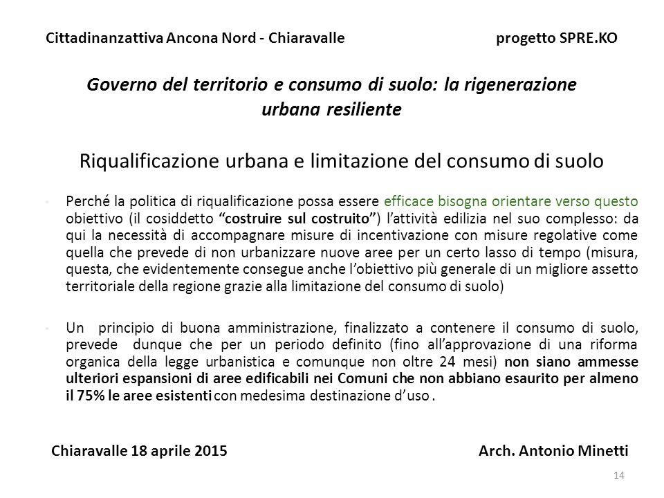 Riqualificazione urbana e limitazione del consumo di suolo