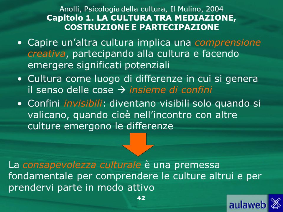 Anolli, Psicologia della cultura, Il Mulino, 2004 Capitolo 1