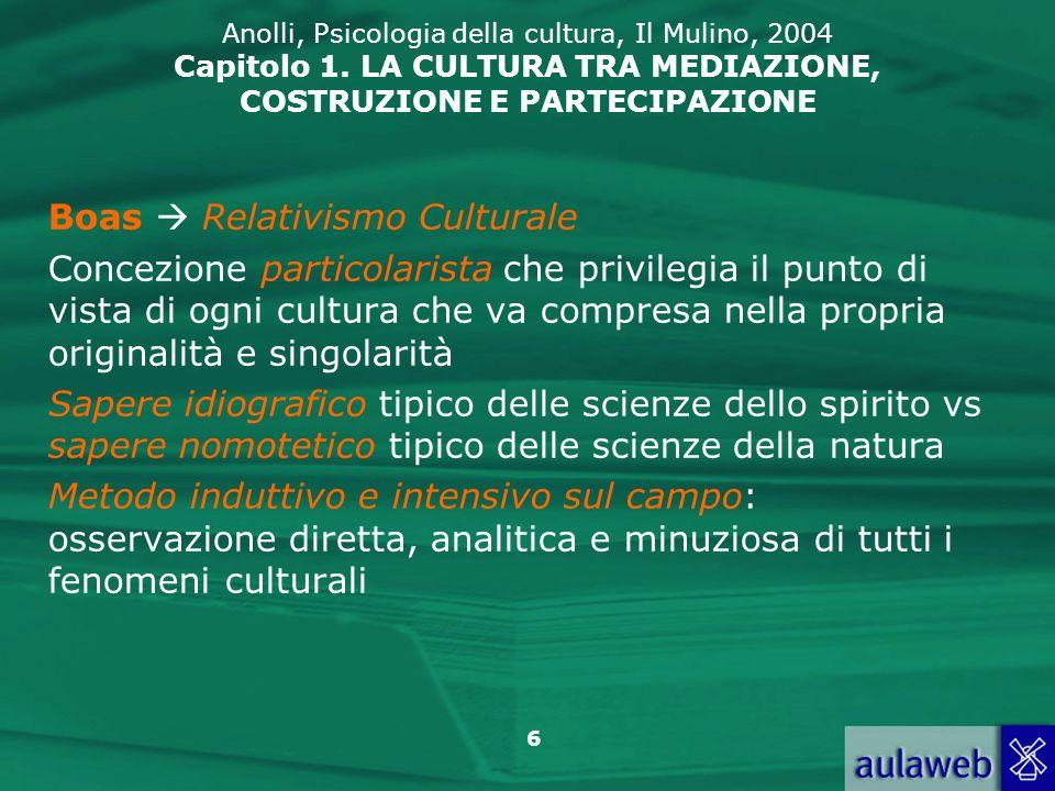 Boas  Relativismo Culturale