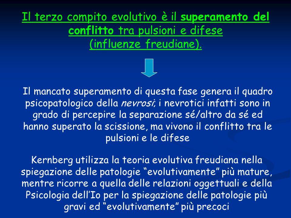 Il terzo compito evolutivo è il superamento del conflitto tra pulsioni e difese (influenze freudiane).