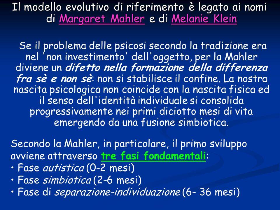 Il modello evolutivo di riferimento è legato ai nomi di Margaret Mahler e di Melanie Klein