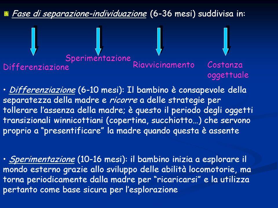 Fase di separazione-individuazione (6-36 mesi) suddivisa in: