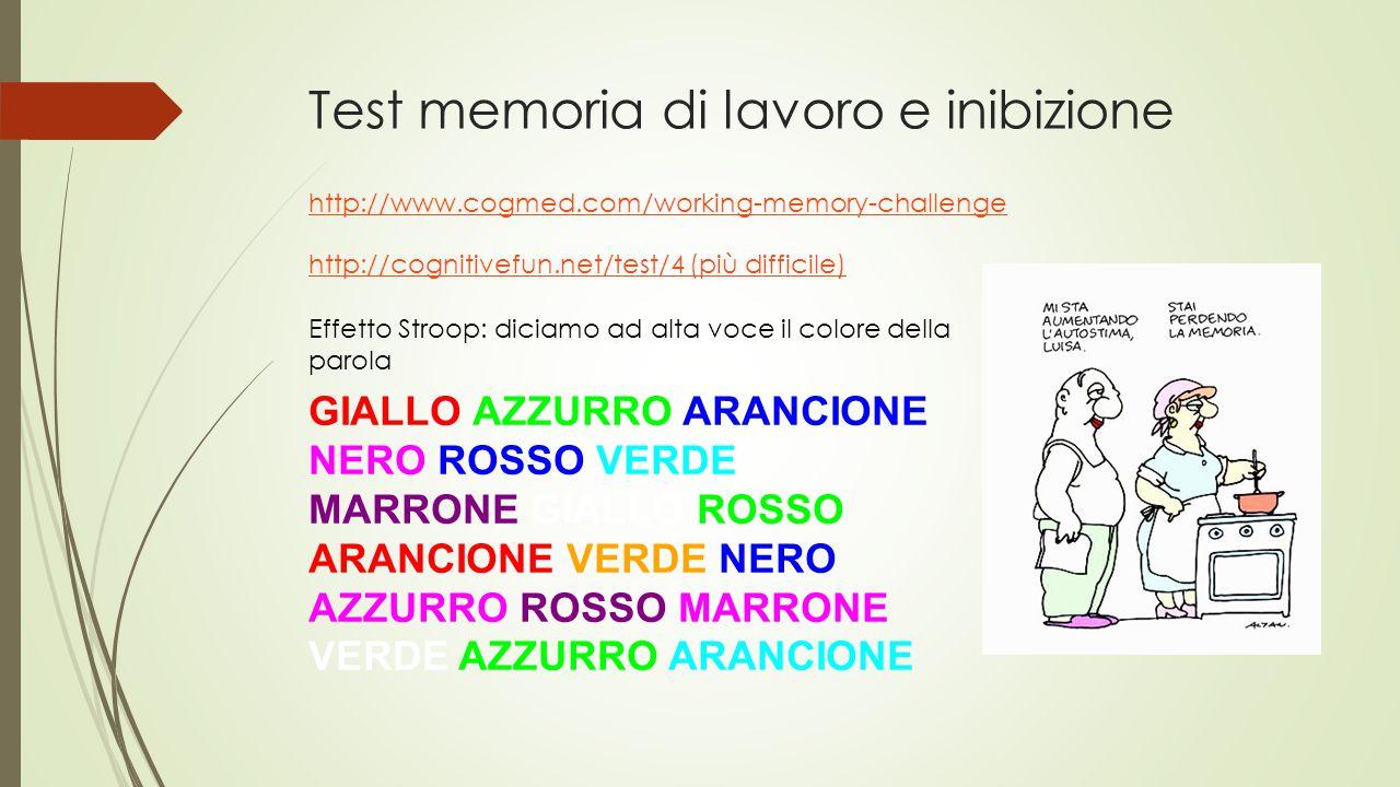 Test memoria di lavoro e inibizione