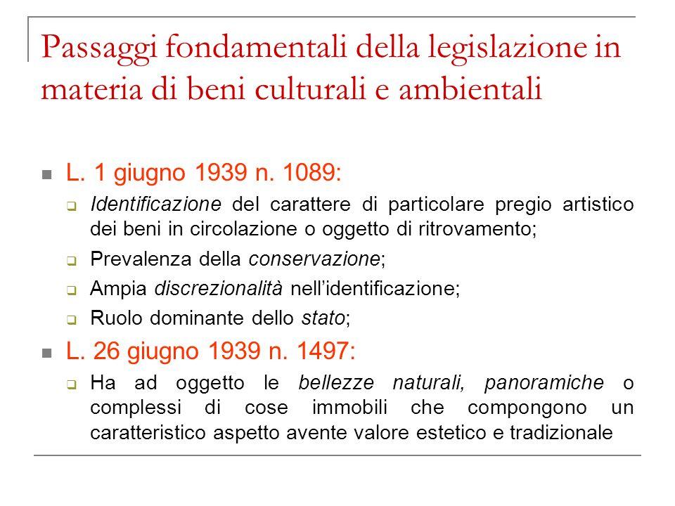 Passaggi fondamentali della legislazione in materia di beni culturali e ambientali
