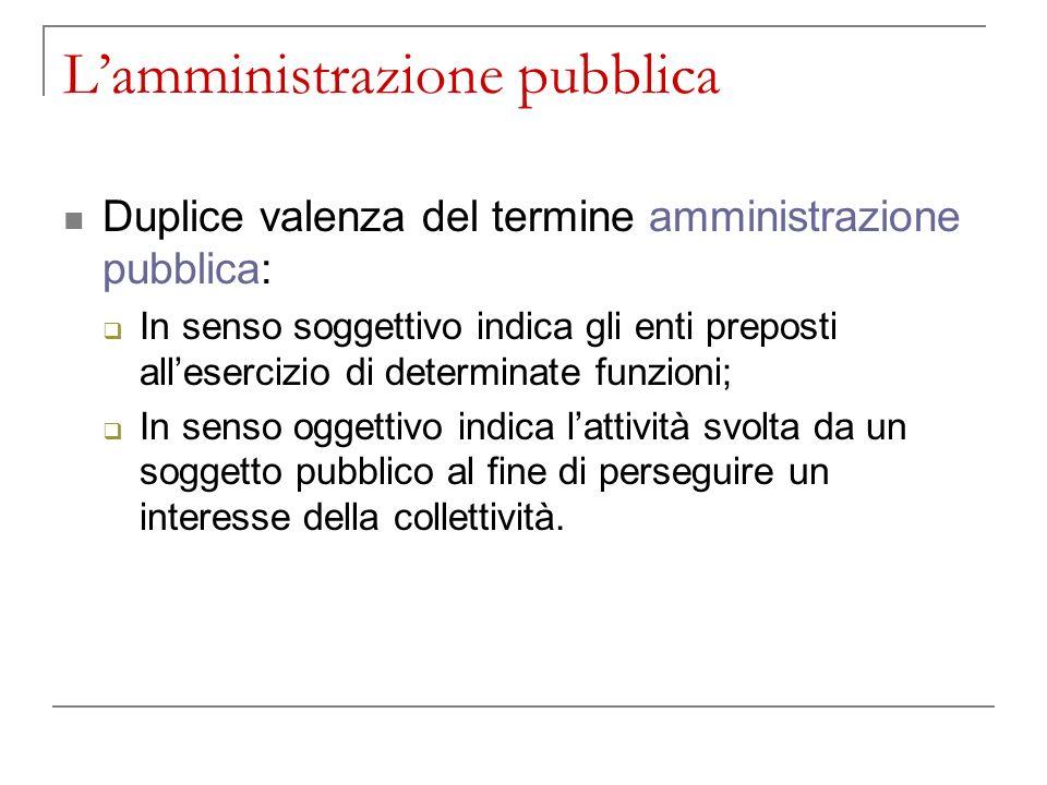 L'amministrazione pubblica