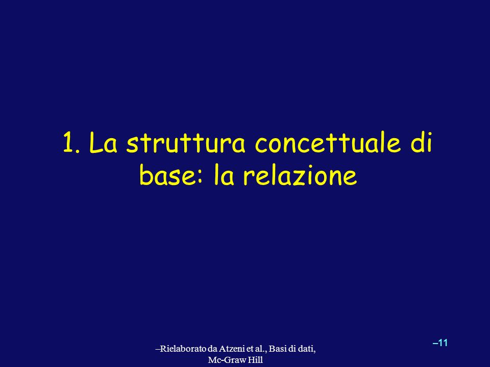 1. La struttura concettuale di base: la relazione
