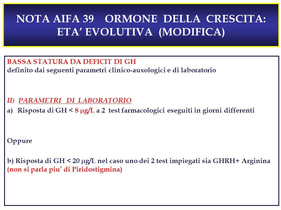 NOTA AIFA 39 ORMONE DELLA CRESCITA: ETA' EVOLUTIVA (MODIFICA)