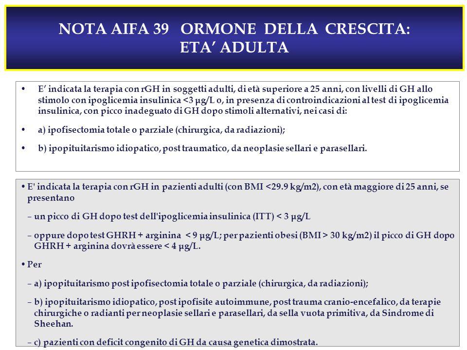 NOTA AIFA 39 ORMONE DELLA CRESCITA: