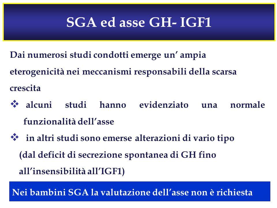 SGA ed asse GH- IGF1 Dai numerosi studi condotti emerge un' ampia
