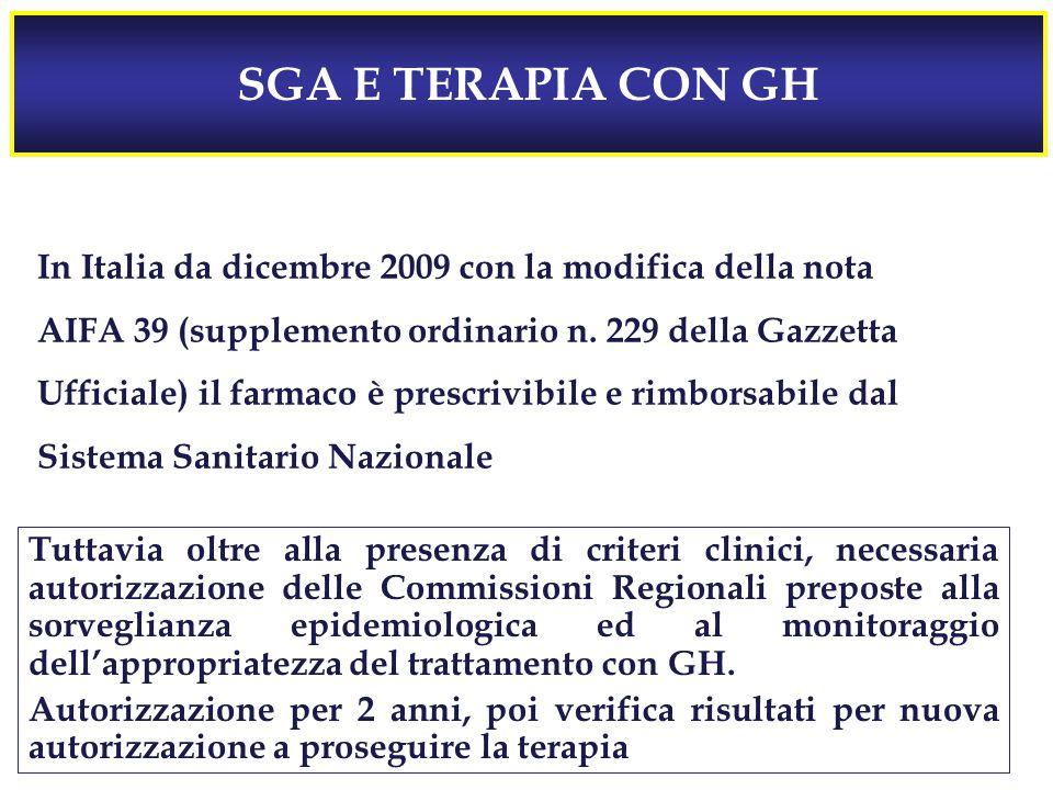 SGA E TERAPIA CON GH In Italia da dicembre 2009 con la modifica della nota. AIFA 39 (supplemento ordinario n. 229 della Gazzetta.