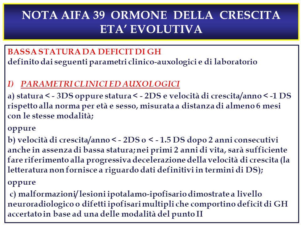 NOTA AIFA 39 ORMONE DELLA CRESCITA