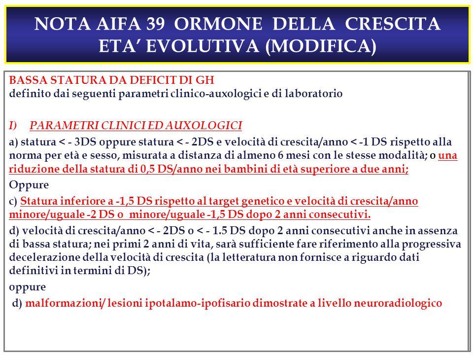 NOTA AIFA 39 ORMONE DELLA CRESCITA ETA' EVOLUTIVA (MODIFICA)