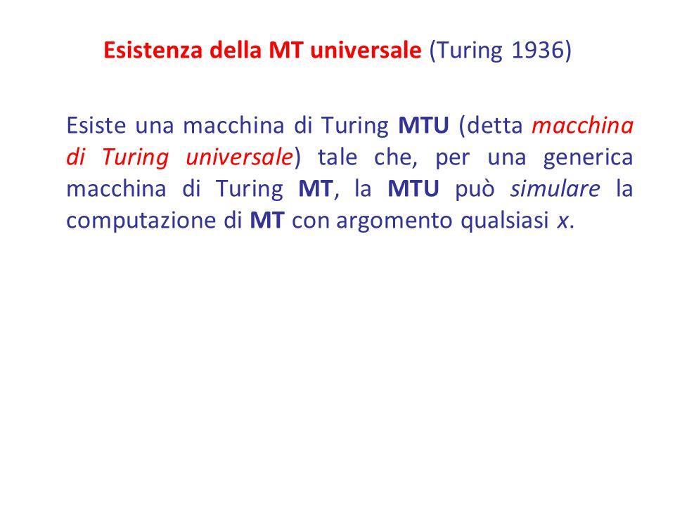 Esistenza della MT universale (Turing 1936)