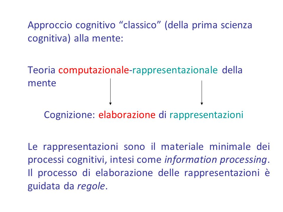 Cognizione: elaborazione di rappresentazioni